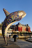 Mosaic studded orca frames the Fairmont Empress Hotel, the Inner Harbour, colour, Victoria, British Columbia, Canada