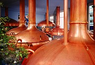 Brewing room with mash tun copper tanks, Kronenbourg brewery, Strasbourg, Alsace, France