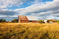 Wooden barns, Jacket River, Acadian Coast, New Brunswick, Canada