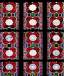 Part of a Stained Glass window depicting detailed decorative motifs, with geometrical designs, floral and architectural motifs