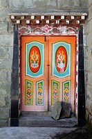 A painted door in a Buddhist temple