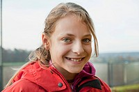 Germany, Bavaria, Girl smiling, portrait