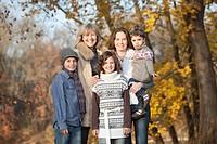 Germany, Upper Bavaria, Family smiling, portrait