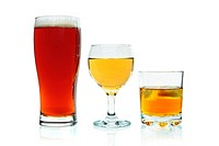 Full glasses of beer, white wine, and whisky with ice isolated on a white background