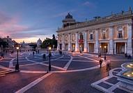 Piazza del Campidoglio in the evening light, Rome, Latium, Italy