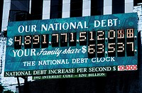 New York, NY, USA, Detail U S  national Debt Sign on Building near Times Square
