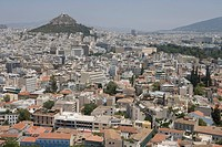 Plaka and Lykavittos Hill, View from Acropolis over the city, Athens, Greece