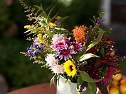 Bunch of Autumn flowers with sunflowers, dahlias and asters, Bavaria, Germany