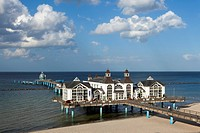 Clouds over the pier and beach, Sellin seaside resort, Ruegen island, Baltic Sea, Mecklenburg_West Pomerania, Germany