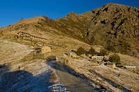 View to mountain lodge Rifugio Agrituristico Salvin, Monastero di Lanzo, Piedmont, Italy