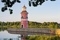 Lighthouse at the pond, Moritzburg, Saxony, Germany, Europe