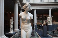A female marble statue display in the exhibition hall of Greek and Roman art in Metropolitan Museum of Art  Manhattan  New York City  USA