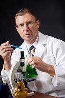 Scientist With Laboratory Microscope