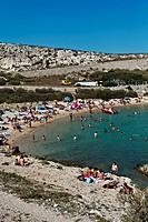 Beach, Calanques de Saint Esteve, Ile Ratonneu, Frioul Archipelago, Marseille or Marseilles, Provence-Alpes-Cote d'Azur, France, Europe
