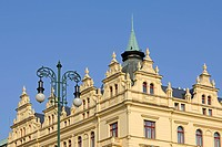 Art nouveau houses, Republic Square, Prague, Bohemia, Czech Republic