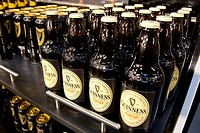 Guinness beer bottles in the museum of the Storehouse in the Guinness brewery, part of the Diageo drinks company, Dublin, Ireland, Europe