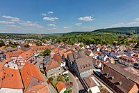 View from Hinterburg Castle over the historic town centre of Schlitz, Vogelsberg district, Hesse, Germany, Europe