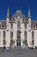 Provincial Government Palace, Provinciaal Hof, Provincial Court, Grote Markt market square, historic town centre of Bruges, UNESCO World Heritage Site...