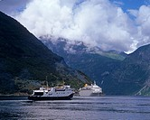 Cruise ship and ferry in Geirangerfjord, UNESCO World Natural Heritage Site, Møre og Romsdal, Norway, Scandinavia, Europe