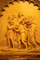 Relief in the chapel of the Sant Crist de les Animes, Sineu, Es Pla, Majorca, Balearic Islands, Spain