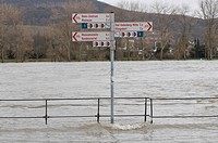 High water of the Rhine River near Bonn, flooded bike path and promenade, sign post in the water, North Rhine-Westphalia, Germany, Europe
