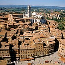 View from the Torre del Mangia to Piazza del Campo, Cathedral of Siena at back, Siena, Tuscany, Italy, Europe
