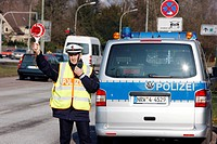 Speed check marathon of the police in North Rhine-Westphalia on 10 February 2012, photocall, start of a long-term campaign against speeding in North R...