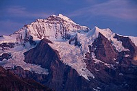 Evening mood at Mt Jungfrau, view from Schynige Platte mountain region, Bernese Oberland, Switzerland, Europe