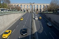 The road crossing the aqueduct in Istanbul city, Turkey