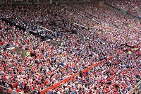 Crowds at English Premiership football match between Manchester United and Fulham, Old Trafford, Manchester, England, United Kingdom, Europe