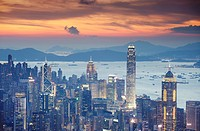 Hong Kong Island skyline at sunset, Hong Kong, China, Asia