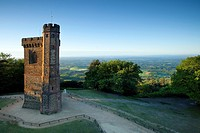 Leith Hill Tower, highest point in south east England, view sout on a summer morning, Surrey Hills, GreensandWay, Surrey, England, United Kingdom, Eur...