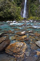 Thunder Creek Falls, Haast, West Coast, South Island, New Zealand, Pacific