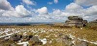 Melting snow besides Hollow Tor on Dartmoor National Park, Devon, England, United Kingdom, Europe