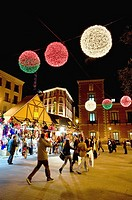 Christmas lights in centrum city of Madrid, Spain