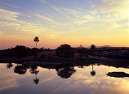 Sunrise over the lake at Fort Seengh Sagar in Rajasthan, India, Asia
