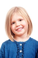 portrait of a happy little girl with blond hair smiling _ isolated on white