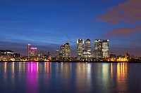 Canary Wharf financial district viewed over the river Thames, London, UK