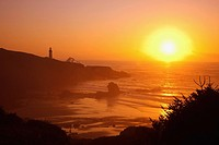 sunset over yaquina head lighthouse, newport oregon united states of america
