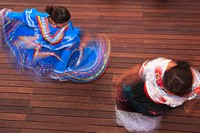hispanic women in traditional folkloric dresses guaycura boutique hotel and spa, todos santos baja california mexico