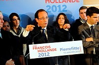 Fran&#231;ois Hollande, socialist party candidate for the 2012 french presidential election, Pierrefitte, northern suburbs of Paris, Seine-Saint-Denis, &#206;le...