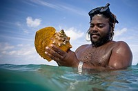 A Man Looks At A Large Conch Shell In The Ocean, Runaway Bay Jamaica