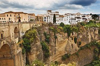 The Town Perched On The Gorge With New Bridge On The Left, Ronda Malaga Andalusia Spain