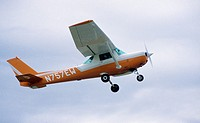 small airplane in flight over Bowie, Maryland