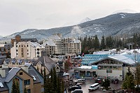 buildings and a parking lot in a ski resort, whistler british columbia canada