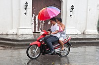 Philippines, Luzon island, Ilocos Sur, Vigan, listed as World Heritage by UNESCO, Mestizo historic district, rainy day