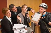 Overworked office receptionist
