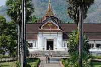 Laos, Luang Prabang Province, Luang Prabang City, listed as World Heritage by UNESCO, the National Museum constuit by the French in 1904 seen from Pho...