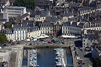 France, Morbihan, Vannes, the harbour and Place Gambetta aerial view