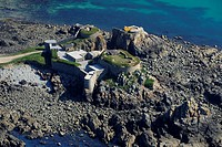 United Kingdom, Channel islands, Alderney, fort Clonque aerial view